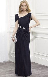 Chiffon Cap-Sleeve Ruched Mother Of The Bride