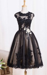 A-line Knee-length Jewel Cap Short Sleeve Lace Dress with Appliques