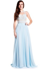 A-line Jewel Neckline Sleeveless Chiffon Dress With Appliques