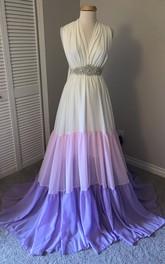 A-line V-neck Beading Sleeveless Floor-length Chiffon Maternity Dress