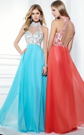 High Neck Sleeveless long Prom Dress With Appliques And Keyhole