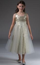 Tea-Length Tulle-Wrap Skirt High-Waist Bateau-Neckline Flower Girl Dress