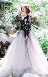 V-neck A-Line Long Sleeve Lace Tulle Floor-length Wedding Dress with Keyhole Back