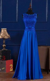 A-line Sleeveless Floor-length Jewel Satin Lace Bridesmaid Dress with Lace-up Back