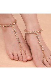 Beach Leisure Yoga Foot Accessories Alloy Rhinestone With Anklets