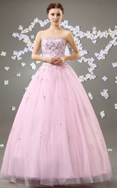 Princess Rhinestone Tulle Overlay Strapless Blushing Ball Gown