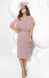 Chiffon Sheath Knee-length Cap-sleeve Dress With Jeweled Waist
