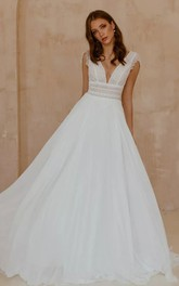 Bohemian Short Sleeve A Line Chiffon Lace V-neck Wedding Dress with V Back and Sweep Train