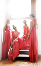 Different Style Chiffon Prom Gowns Floor Length Ruffles Concertible Bridesmaid Dresses