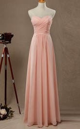 Sweetheart Criss-cross ruched Chiffon Long Dress With Zipper