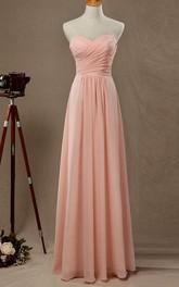 Sweetheart Criss-cross ruched Chiffon Long Dress With Zipper
