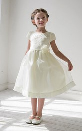 Lace Satin Ribbon Layered 3-4-Length Flower Girl Dress