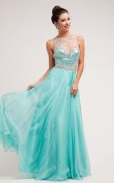 A-Line Crystal Bateau Sleeveless Illusion Satin Dress