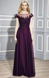 Scoop-neck Short Sleeve Lace Appliques Dress With Illusion