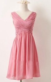 short Chiffon V-neck Sleeveless Bridesmaid Dress With Zipper