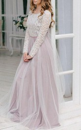 Scoop-neck Long Sleeve Tulle Floor-length Dress With Lace top