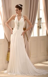 Elegant Chiffon A-line Halter Floor Length Wedding Dress with Beading