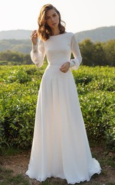 Bateau Chiffon Long Sleeve Court Train Low-V Back Wedding Dress with Lace