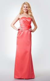 A-Line Long Floral Sleeveless Satin Ruched Dress