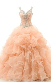 Floor-Length Organza Ruffled Sweetheart Jeweled Sleeveless Appliqued Ball Gown