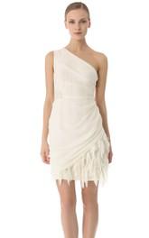 Sheath Chiffon One-Shoulder Short Side-Draped Dress