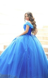 Off-The-Shoulder Sequined One-Shoulder Sweetheart Tulle Cap Lace Ball Gown