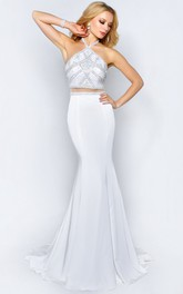 Trumpet Backless Jeweled Full-Length Haltered Jersey Sleeveless Court-Train Dress