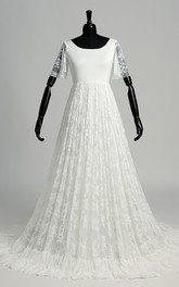 A-line Satin Lace Scoop Floor-length Sweep/Brush Train Short Sleeve Pleats Wedding Dress