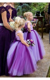 Princess Cap Sleeve Tulle Lovely Bowknot Flower Girl Dress