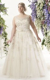 exquisite Scoop-neck Sleeveless Tulle Beaded Ball Gown With Corset Back