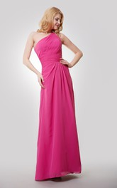 A-Line Ruched Floor-Length One-Shoulder Chiffon Dress