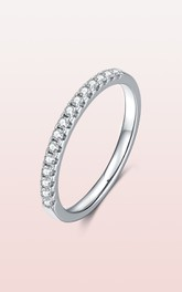 Shared Prong Set Dainty 925 Sterling Silver Wedding Rings