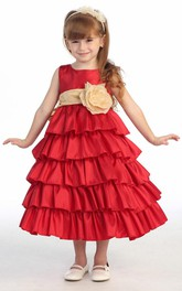 Taffeta Layered Ankle-Length Flower Girl Dress