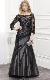 Bateau Lace Appliques Illusion Long Sleeve Dress With Low-V Back