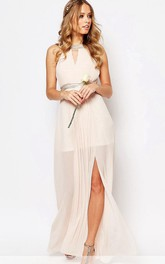 Ankle-Length Scoop Neck Split-Front Sleeveless Chiffon Bridesmaid Dress
