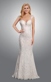 Queen Anne Lace Sheath Appliqued Wedding Dress With Keyhole And Court Train