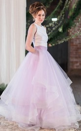 Scoop-neck Sleeveless Tulle Ball Gown With Ruffles