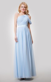 A-Line Satin Ribbon Ruched Single-Shoulder Dress
