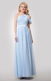 A-Line Satin Ribbon Ruched Single-Shoulder Dress
