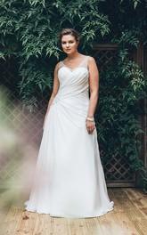 Sleeveless Jewel Long A-Line Court-Train Criss-Cross Dress