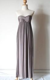 Strapless Silver Grey Chiffon Dress