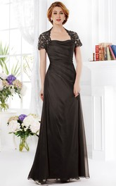 Beaded Ruches Floor-Length Short-Sleeved Mother Of The Bride