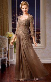 Lace Long Sleeve Beaded Mother of the Bride Dress With Keyhole