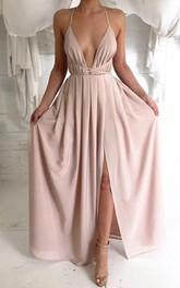 Sexy V-neck Spaghetti Strap Prom Dress With Front Split
