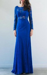 Bateau Lace Long Sleeve Sheath Dress With Pleats And Illusion