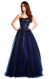 Strapless A-line Ball Gown Prom Dress With Sequins And Corset Back