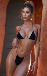 Plain Halter Thong Bikini Set Swimsuit