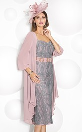 Pencil Tea-length Lace Mother of the Bride Dress With jacket