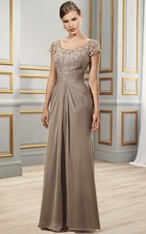 Short Sleeve Floor-length Appliques Dress With central draping