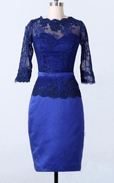 Long-Sleeve Satin Short-Midi Sheath Lace Dress